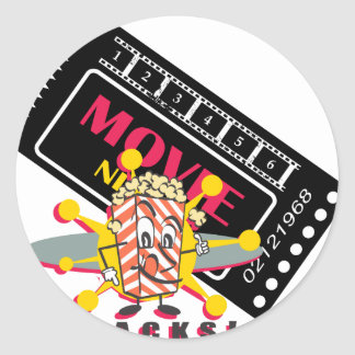 Movie and Popcorn Snacks Classic Round Sticker