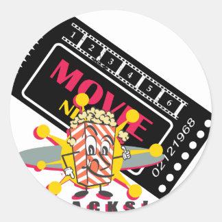 Movie and Popcorn Snacks Round Sticker
