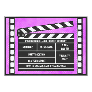 Movie Birthday Party Clapboard Purple Card