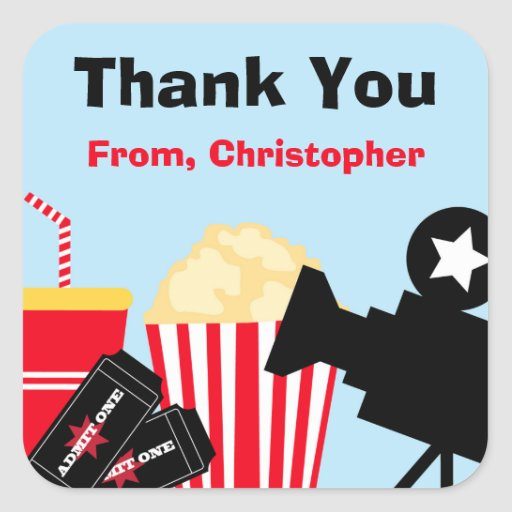 Movie Birthday Party Thank You Stickers