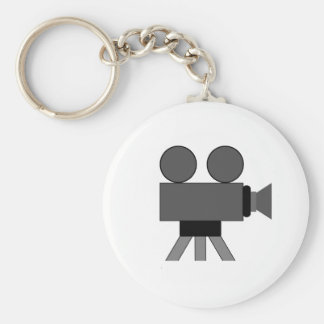 Movie Camera Basic Round Button Key Ring