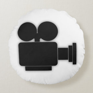 MOVIE CAMERA (BLACK AND WHITE ICON DESIGN) ROUND CUSHION