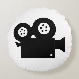 MOVIE CAMERA (BLACK AND WHITE) Round Pillow