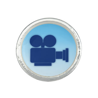 MOVIE CAMERA (BLUE) Silver Plated Ring
