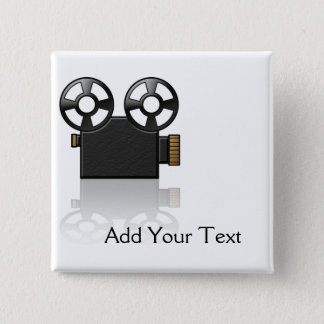 Movie Camera in Black and Gold on White 15 Cm Square Badge