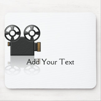 Movie Camera in Black and Gold on White Mouse Mat