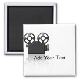 Movie Camera in Black and Gold on White Square Magnet
