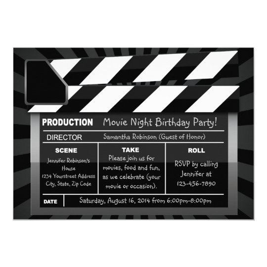 movie clap board custom party invitations zazzle co uk