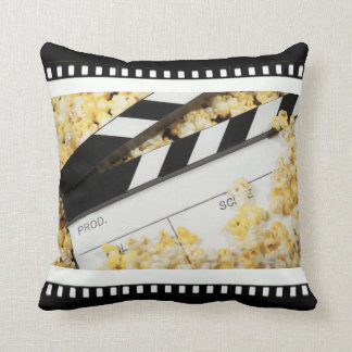 Movie Clapboard and Popcorn Throw Pillow