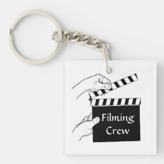 Movie Clapboard Double-Sided Square Acrylic Key Ring