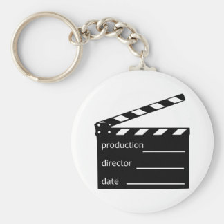 Movie clapper basic round button key ring