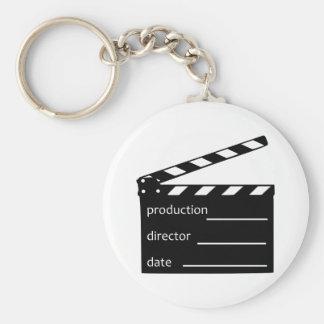 Movie clapper basic round button key ring