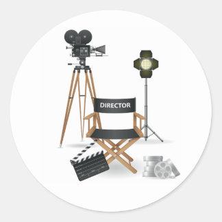 Movie Director Set Stickers Round Sticker