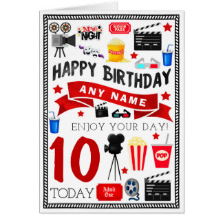 Movie Film Night Personalised Birthday Card