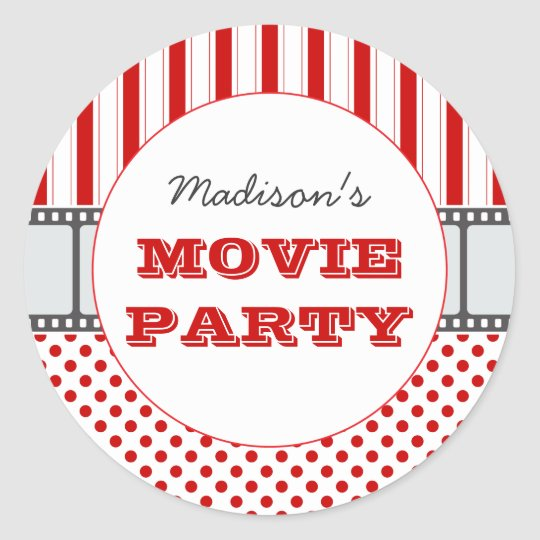 Movie Film Personalised Party Sticker