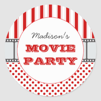 Movie Film Personalized Party Sticker