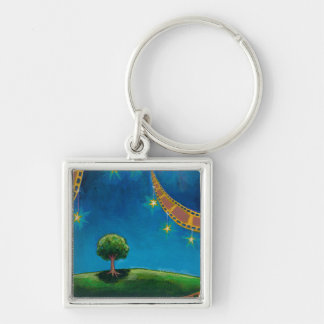 Movie film photography art fun landscape painting Silver-Colored square key ring