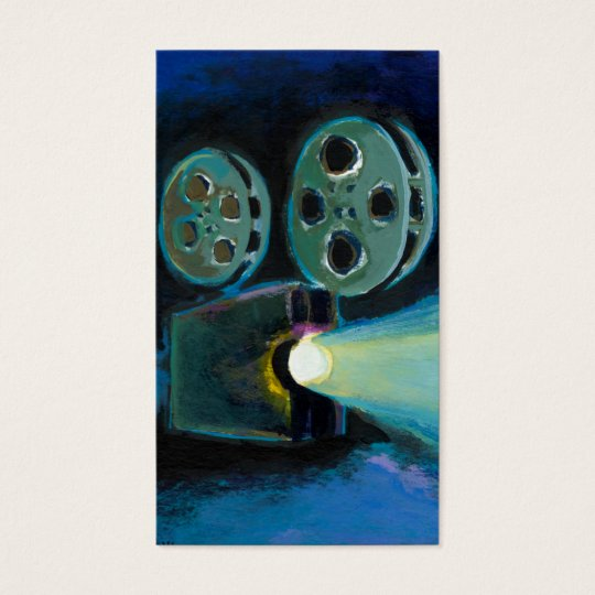 Movie film projector colourful expressive art business card