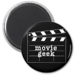 Movie Geek with Clapboard 6 Cm Round Magnet