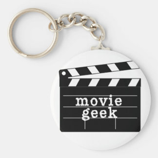 Movie Geek with Clapboard Basic Round Button Key Ring