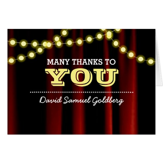 Movie Lights Yellow Bar Mitzvah Thank You Note