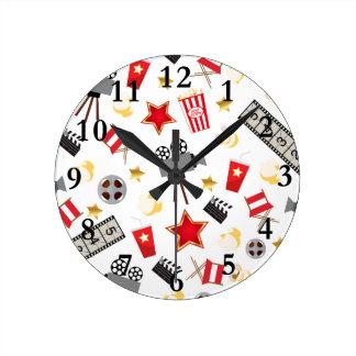 Movie Lover Pattern Round Clock