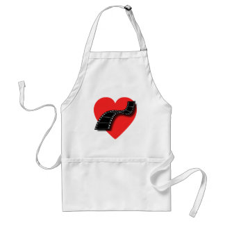 Movie Lover with Red Heart and Film Strip Standard Apron