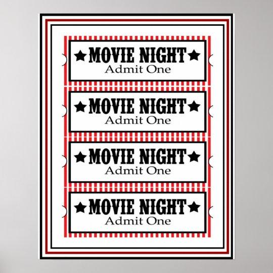 Movie Night Admit One Poster 16 x 20   Zazzle