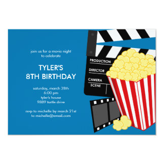 Movie Night Birthday Party Invitation Personalized Announcement