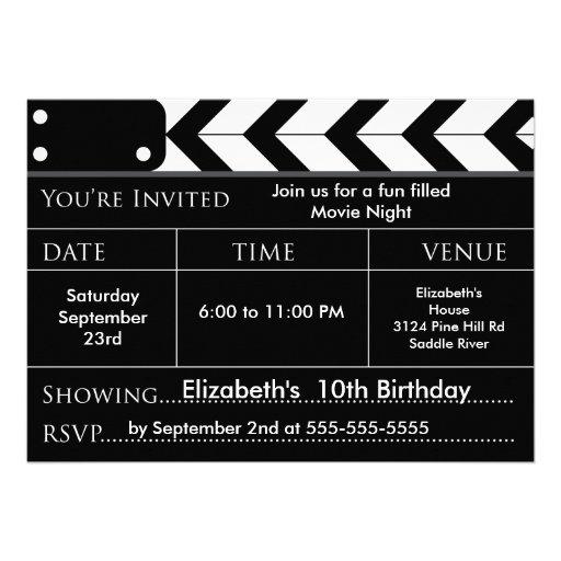 MOVIE NIGHT Birthday Party Invitation
