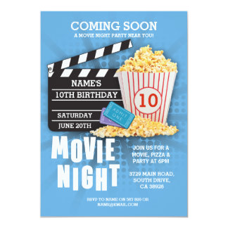 Movie Night Film Cinema Birthday Party Blue Invite