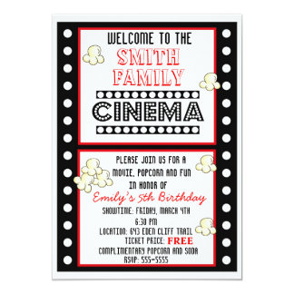 Movie Night Film Strip Popcorn Birthday Invitation