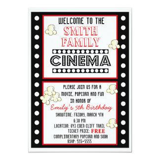 Movie Night Film Strip Popcorn Birthday Invitation