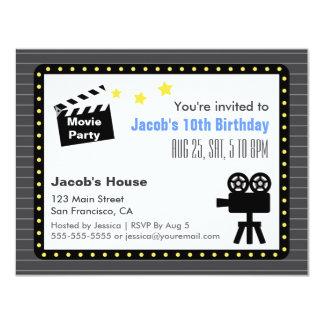 Movie Night Party, Birthday Party 11 Cm X 14 Cm Invitation Card