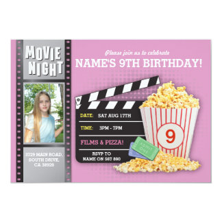 Movie Night Pink Cinema Birthday Party Photo Card