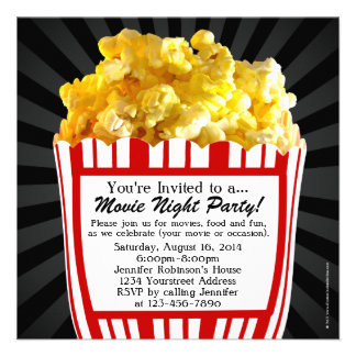 Movie Night Popcorn Custom Party Invitations, Sq.