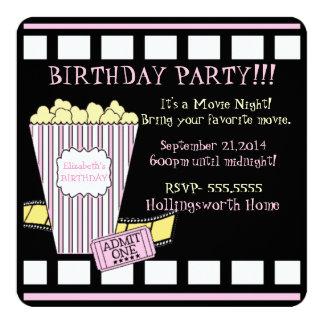 Movie Night Popcorn Film Strip Pink Girls Party 13 Cm X 13 Cm Square Invitation Card