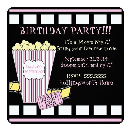 Movie Night Popcorn Film Strip Pink Girls Party