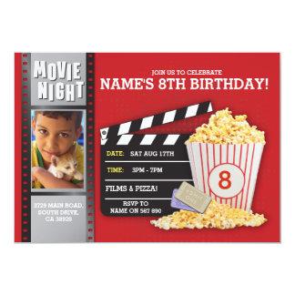 Movie Night Red Cinema Birthday Party Photo Card