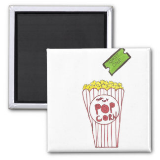 Movie Night Square Magnet