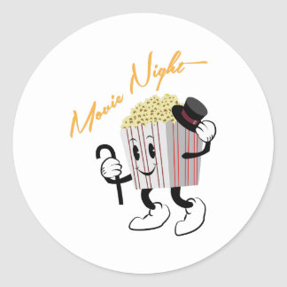 Movie Night Classic Round Sticker