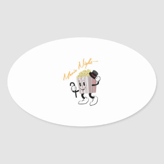 Movie Night Oval Sticker