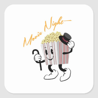 Movie Night Square Sticker