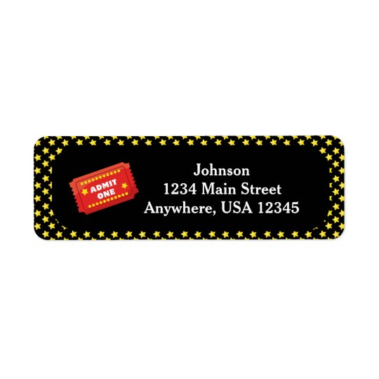 Movie Night Theme | Admit One Ticket  Personalised Return Address Label