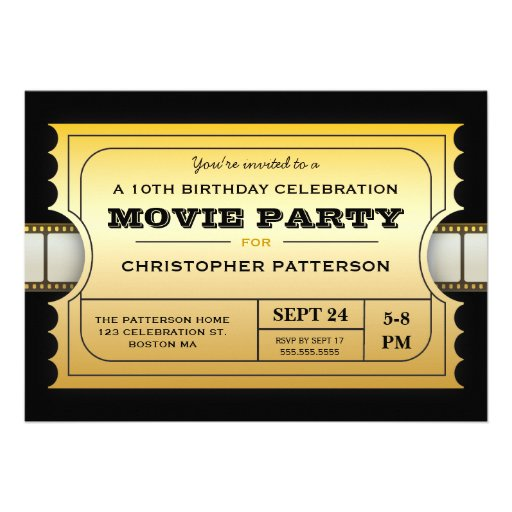 Movie Party Birthday Party Admission Gold Ticket Personalized Invitation