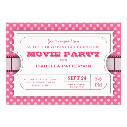 Movie Party Birthday Party Admission Ticket | Pink Custom Invites