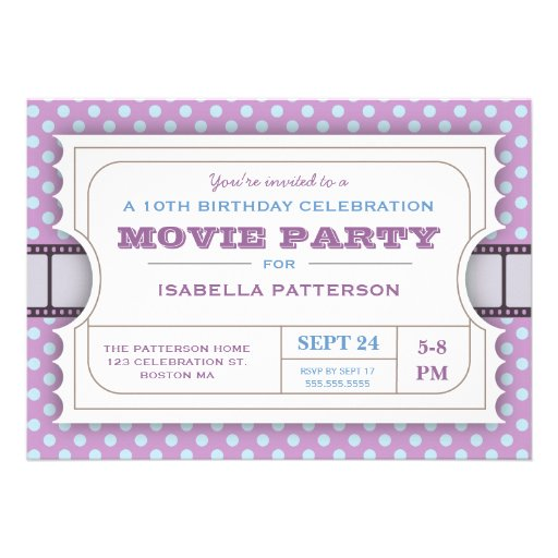 Movie Party Birthday Party Admission Ticket Purple Personalized Announcements
