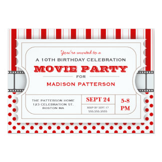 Movie Party Birthday Party Admission Ticket   Red 13 Cm X 18 Cm Invitation Card