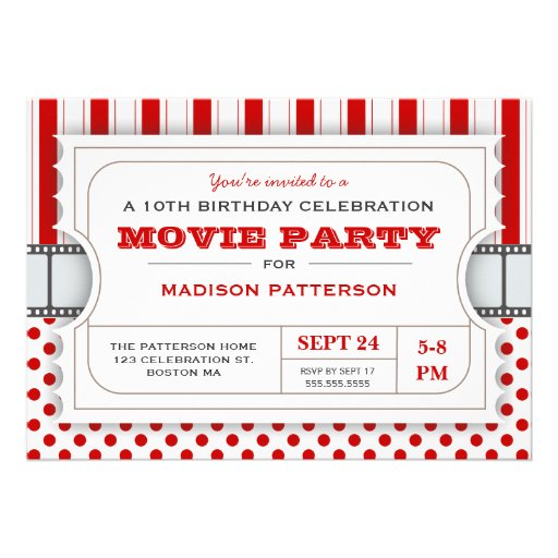 Movie Party Birthday Party Admission Ticket | Red Custom Invite