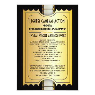 Movie Party Program Golden Admission Ticket 13 Cm X 18 Cm Invitation Card